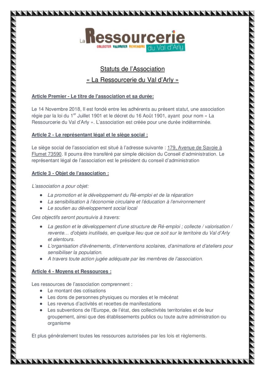 statuts de l'association page 1